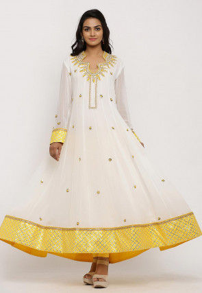 Hand Embroidered Georgette Anarkali Kurta Set in Off White