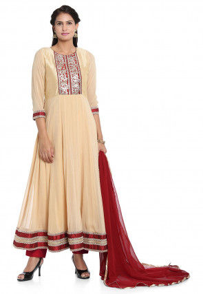Hand Embroidered Georgette Anarkali Suit in Beige