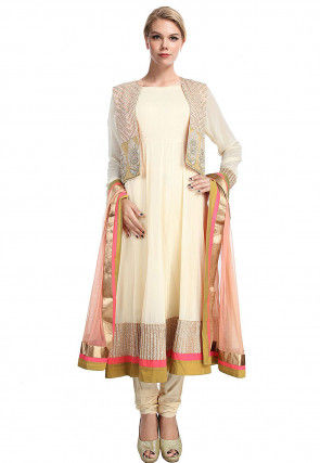 Hand Embroidered Georgette Anarkali Suit in Cream