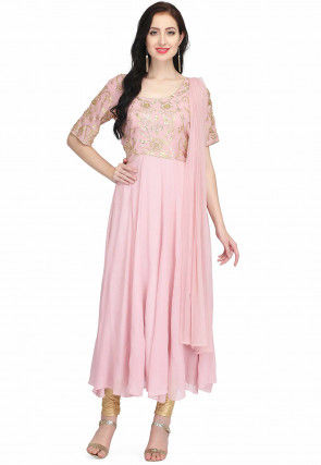 Hand Embroidered Georgette Anarkali Suit in Light Pink