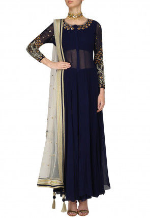 Hand Embroidered Georgette Anarkali Suit in Navy Blue