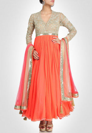 Hand Embroidered Georgette Anarkali Suit in Orange and Beige