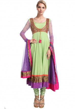 Hand Embroidered Georgette Anarkali Suit in Pastel Green
