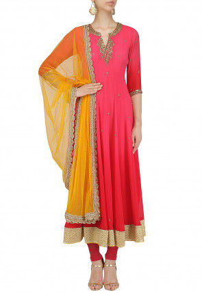 Hand Embroidered Georgette Anarkali Suit in Red and Pink