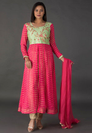 Hand Embroidered Georgette Anarkali Suit in Pink and Green