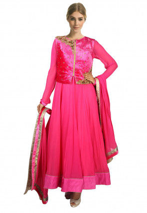 Hand Embroidered Georgette Anarkali Suit in Pink