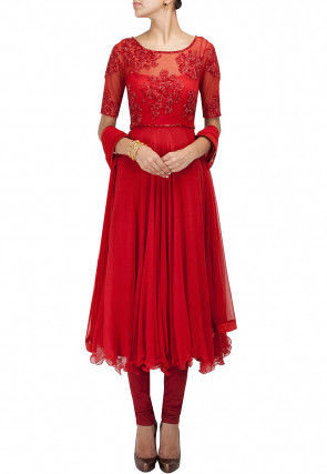 Hand Embroidered Georgette Anarkali Suit in Red