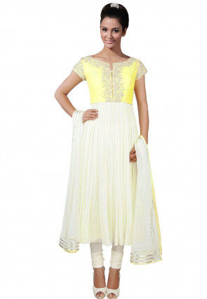 Hand Embroidered Georgette Anarkali Suit in White and Yellow