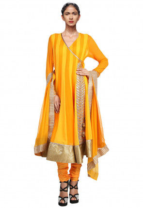 Hand Embroidered Georgette Anarkali Suit in Yellow