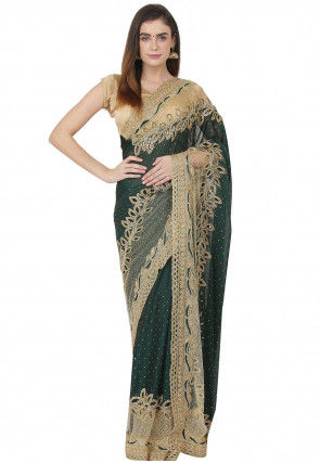 Hand Embroidered Georgette and Net Saree in Dark Green