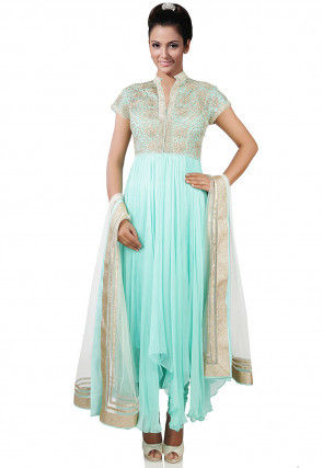 Hand Embroidered Georgette Asymmetric A Line Suit in Light Blue