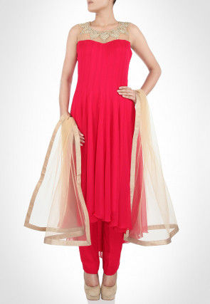 Hand Embroidered Georgette Asymmetric Anarkali Suit in Fuchsia
