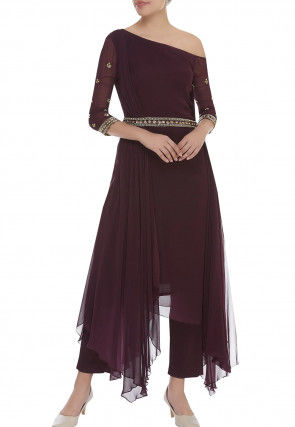 Hand Embroidered Georgette Asymmetric Kurta Set in Brown