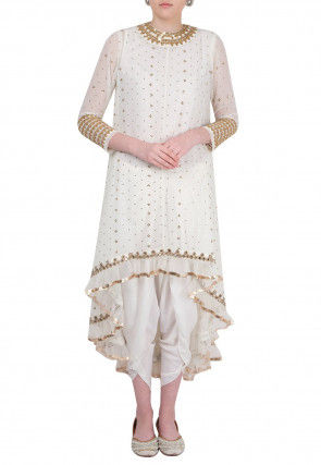 Hand Embroidered Georgette Asymmetric Kurta Set in Off White