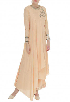 Hand Embroidered Georgette Asymmetric Kurta Set in Peach