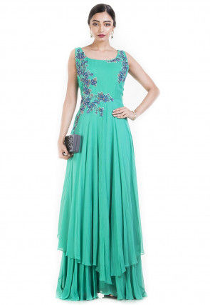 Hand Embroidered Georgette Asymmetric Pakistani Suit in Green