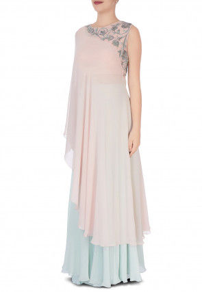Hand Embroidered Georgette Asymmetrical Kurta in Baby Pink