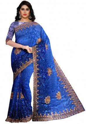 Hand Embroidered Georgette Brasso Saree in Royal Blue