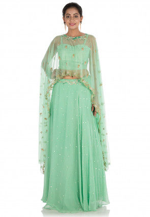 Hand Embroidered Georgette Cape Style Crop Top N Skirt in Green