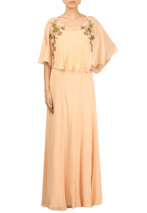 Hand Embroidered Georgette Cape Style Flared Gown in Peach