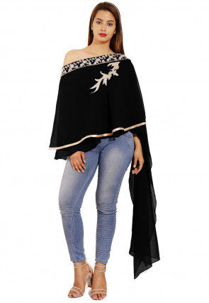 Hand Embroidered Georgette Cape Style Top in Black