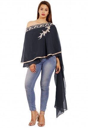 Hand Embroidered Georgette Cape Style Top in Dark Grey
