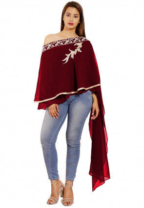 Hand Embroidered Georgette Cape Style Top in Maroon