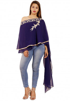 Hand Embroidered Georgette Cape Style Top in Navy Blue