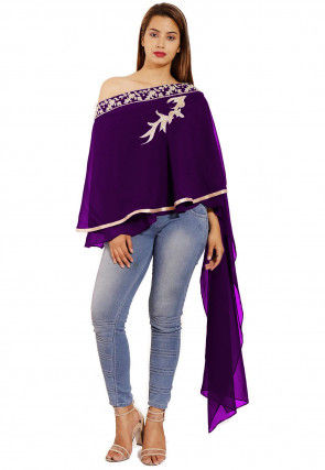 Hand Embroidered Georgette Cape Style Top in Purple