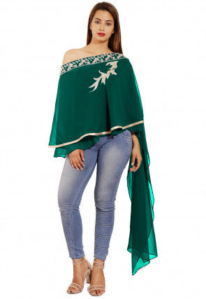Hand Embroidered Georgette Cape Style Top in Teal Green