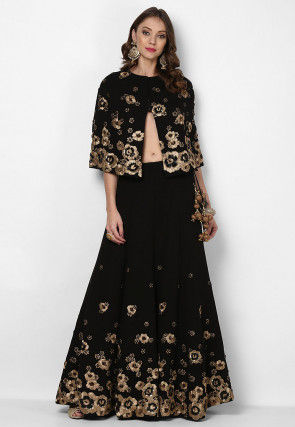 Hand Embroidered Georgette Cape Style Top N Skirt in Black