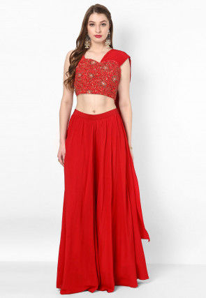 Hand Embroidered Georgette Crop Top Dupatta N Skirt in Red
