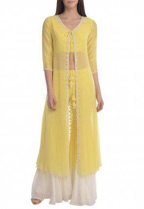 Hand Embroidered Georgette Crop Top N Sharara in Yellow