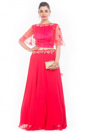 Hand Embroidered Georgette Crop Top N Skirt in Fuchsia