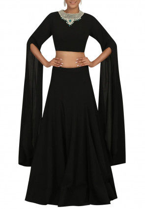 Hand Embroidered Georgette Crop Top with Skirt in Black