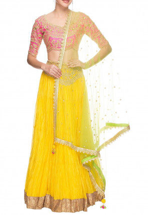 Hand Embroidered Georgette Crushed Lehenga in Yellow