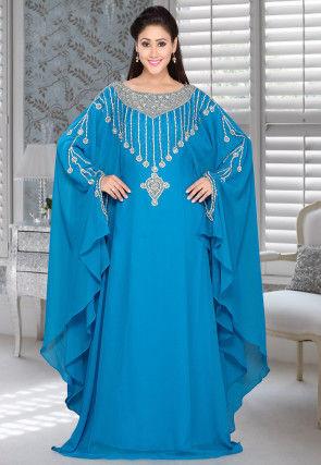 Hand Embroidered Georgette Farasha Kaftan in Blue