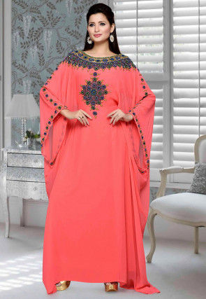 Hand Embroidered Georgette Farasha Kaftan in Coral Pink