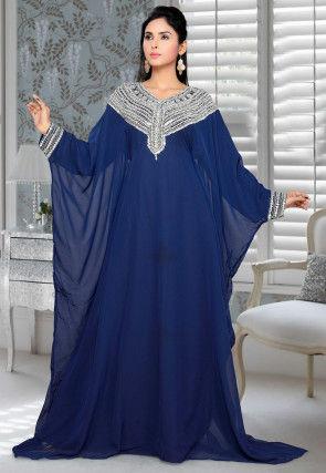 Hand Embroidered Georgette Farasha Kaftan in Navy Blue