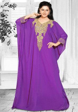 Hand Embroidered Georgette Farasha Kaftan in Purple