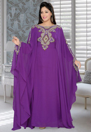 Hand Embroidered Georgette Farasha Kaftan in Purple