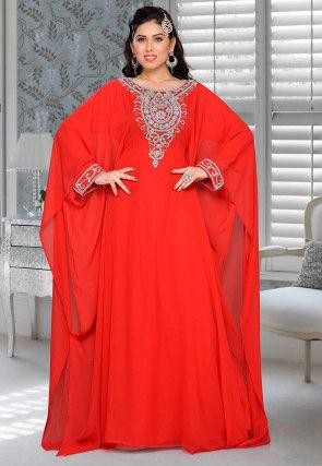 Hand Embroidered Georgette Farasha Kaftan in Red