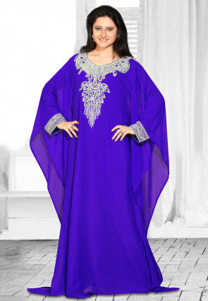Hand Embroidered Georgette Farasha Kaftan in Royal Blue