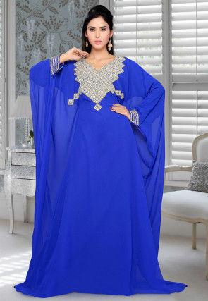 Hand Embroidered Georgette Farasha Kaftan in Royal Blue