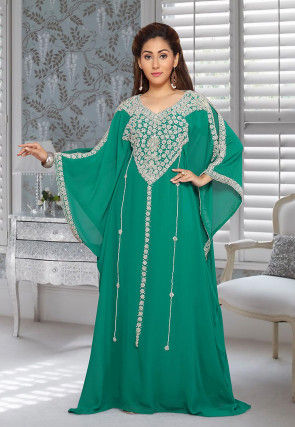 Hand Embroidered Georgette Farasha Kaftan in Teal Green