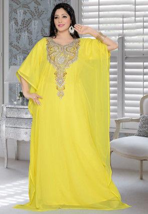 Hand Embroidered Georgette Farasha Kaftan in Yellow