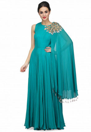 Hand Embroidered Georgette Flared Cape Sleeve Gown in Blue