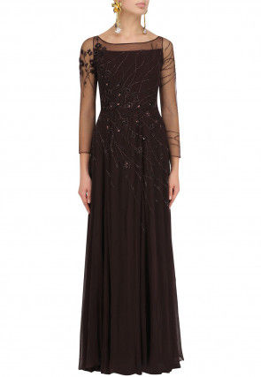 Hand Embroidered Georgette Flared Gown in Dark brown