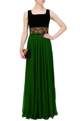 Hand Embroidered Georgette Flared Gown in Dark Green and Black