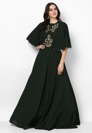 Hand Embroidered Georgette Flared Gown in Dark Green